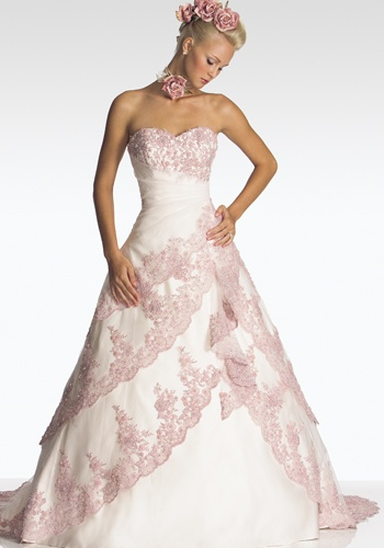 Pink white wedding dress in houston tx demers banquet for White and pink wedding dress