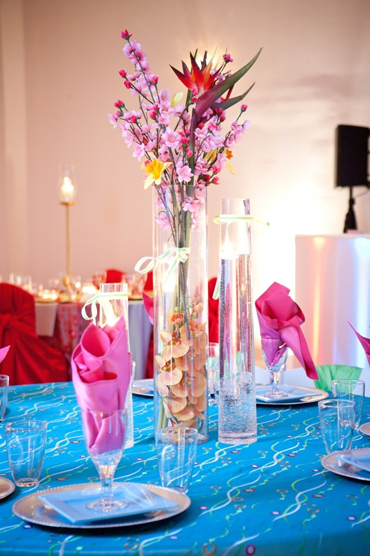 Colorful Caribbean Wedding Colors Table Setting Demers