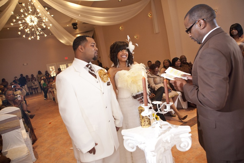 Elegant Drapery At Indoor Ceremony: Elegant Indoor Wedding Ceremony In Houston