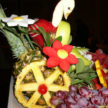 Pineapple Wheel and Flowers on Fruit Table
