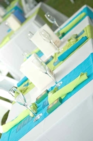 Turquoise lime green table setting demers banquet hall - Turquoise and lime green decor ...