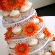 White and Orange cupcakes at Houston Wedding