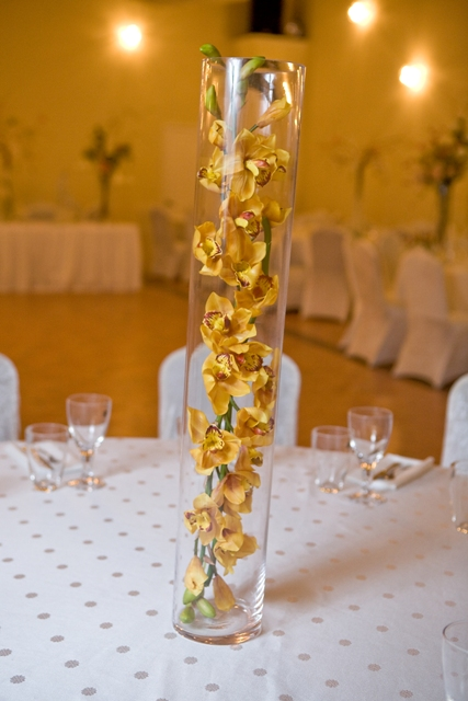 yellow floral vase wedding centerpiece demers banquet hall