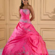 Fusia, Turquoise, and Silver Quinceanera Dress