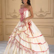 Ivory and Red Quinceneara Dress
