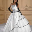 Ivory, Black, and Silver Quinceanera Dress