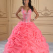 Salmon and Silver Quinceanera Dress