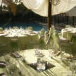 Outdoor lime green Babyshower by the pool