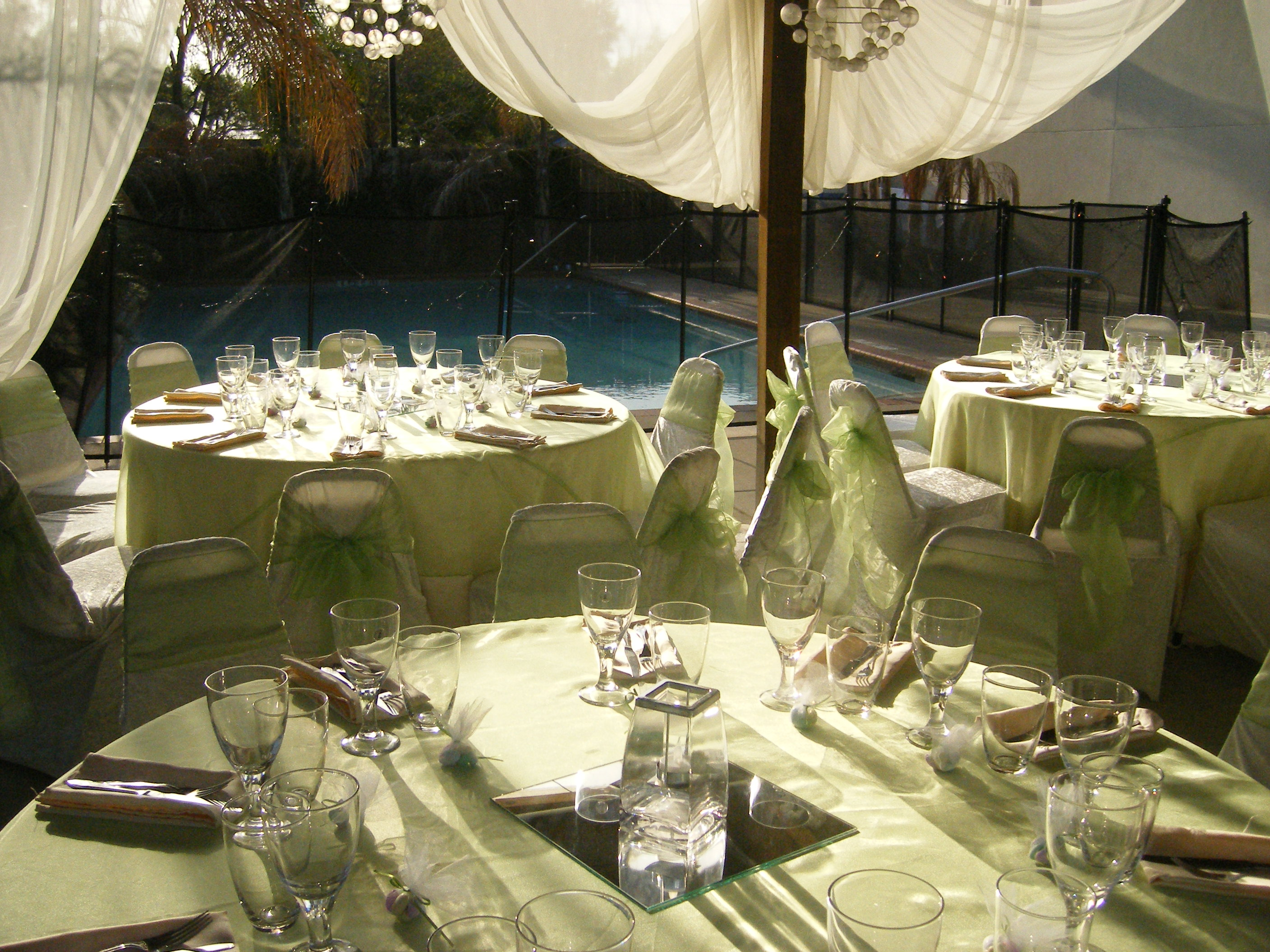 outdoor lime green babyshower by the pool demers banquet hall